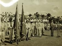 31 July 1947, Ft. Shafter, Oahu, T.H. Governor Ingram Stainback makes address at presentation of the 442nd Infantry Regiment into the regular Army Reserve.