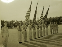 31 July 1947, Ft. Shafter, Oahu, T.H. Colors bearers once again bears the colors of the 442nd Infantry Regiment and the 100th Infantry Battalion upon its reactivation into the regular Army Reserve Corps at Fort Shafter.