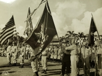 31 July 1947, Ft. Shafter, Oahu, T.H. Lt. General John E. Hull, Commanding General, AGFPAC, accepting the colors of the 442nd Infantry Regiment from Governor Ingram Stainback during the reactivation ceremonies of the 442nd Infantry Regiment into the regular Army Reserve Corps when was held at Fort Shafter.