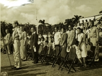 31 July 1947, Ft. Shafter, Oahu, T.H. Combat disabled veterans and families of the 442nd Infantry Regiment and the 100th Infantry Battalion, special guests of Lt. General John E. Hull, Commanding General, AGFPAC, observe the reactivation ceremonies of the 442nd Infantry Regiment into the regular Army Reserve Corps.
