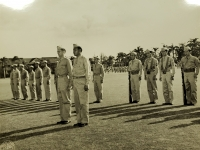 31 July 1947, Ft. Shafter, Oahu, T.H. Officers and color bearers of the 442nd Infantry Regiment and the 100th Infantry Battalion at attention as they are about to receive their colors in a ceremony reactivating both units into the regular Army Reserve Corps at Fort Shafter.