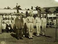 31 July 1947, Ft. Shafter, Oahu, T.H. Governor Ingram Stainback and Lt. General John E. Hull, Commanding General, AGFPAC and members of his staff, stands at attention as the colors of the famed 442nd Infantry Regiment are about to be presented in a reactivation ceremonies activating the 442nd Infantry Regiment and the 100th Infantry Battalion into the regular Army Reserve Corps at Ft. Shafter.