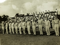 31 July 1947, Ft. Shafter, Oahu, T.H. Officers of the famed 442nd Infantry Regiment and 100th Infantry Battalion stands at attention after the reactivation ceremonies reactiving the regiment into the regular Army Reserve Corps.