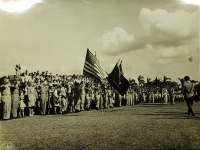 31 July 1947, Ft. Shafter, Oahu, T.H. Special color bearers from the Hawaii National Guard hold the colors of the 442nd Infantry Regiment and the 100th Infantry Battalion during the reactivating ceremonies of the Infantry Regiment into the regular Army Reserve Corps.