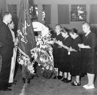 Israel Yost attends a memorial service in Hawaii [Israel Yost Papers, University of Hawaii at Manoa Library]