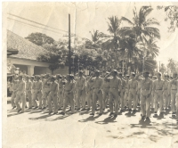 Soldiers of the Hawaiian Provisional Battalion march in Honolulu, 1942 [Courtesy of 100th Clubhouse]