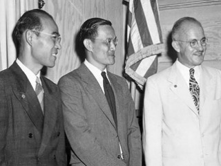 Morale Section: Shigeo Yoshida, Hung Wai Ching and Charles Loomis [Courtesy of author Tom Coffman]