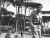 Paul Nishimuta walks though camp in Tombolo, Italy, 1946. [Courtesy of Bernard Akamine]