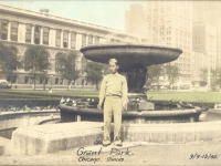 Charles Okimoto in Grant Park, Chicago, Illinois, September 9, 1942. [Courtesy of Dean Okimoto]