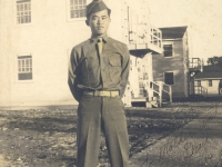 Charles Okimoto at Camp McCoy, Wisconsin, 1942 [Courtesy of Dean Okimoto]