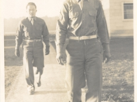 Ernest Enomoto and friend head to supper at Camp McCoy, Wisconsin [Courtesy of Misao Enomoto]
