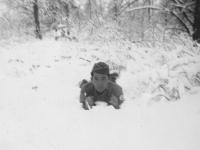 Nakamine playing in snow. [Courtesy of Bert Hamakado]