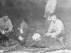 Officers of company roasting hot dogs. [Courtesy of Bert Hamakado]