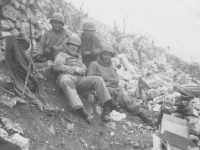 Soldiers on Cassino, Italy hillside, 1944 [Courtesy of Mary Hamasaki]