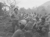 A Red Cross woman talks to the troops, Italy, 1944. [Courtesy of Mary Hamasaki]