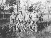 Squad #3 soldiers from the 100th Battalion in Wisconsin.  [Courtesy of Mary Hamasaki]