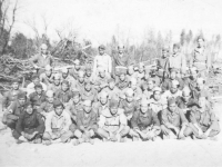 3rd Platoon of Company D in Camp McCoy, Wisconsin, 1942. [Courtesy of Mary Hamasaki]