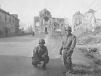 Tadayoshi Hamasaki and fellow soldier pose in the streets of Cassino. [Courtesy of Mary Hamasaki]