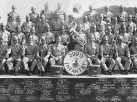 "299th Infantry Band Schofield Barracks March 1941  Bottom row, left to right: Joseph Kwon, John Kauanoe, George Kaokua, Jitsuei Yoshida, Edward Kualaau (Maui), John Spencer (Hilo), Sonny Kauinana, Capt. Fred L. Hartman (Hilo), W.O. Richard J. Macedo, Dick ""Sonny"" Saunders, Solomon Kalima, Anthony Labrador (Hilo), Richard Leandro, William Kuhaiki, George Kane  Second row, left to right: Raphael Garcia (Co. G. Hilo), Manuel Joseph (H.Q. Co. Hon), Alfred De Coito (Hilo), Harry Pokini (Co. K. Molokai), Joseph Kaina, Komao Harada, Albert Puu (Maui), Ichiji Kuroda, Edward Holstein (Molokai), Herbert Loo, David Beckley, William Werner, Edgar Waiau (Co. M. Kauai), Henry Ferreira (Kauai)  Third row, left to right: Wilson Lee, Sam Maio (Co. D. Maui), James Kitashima (Co. C. Maui), Abel Correa (Co. A. Maui), Oseas Boloyot (Co. J. Kauai), Anderson Camara, Domingo Alborao (Co. D. Maui), Joseph Paahao, Sam Kamakea (Co. F. Hilo), ""Big inner"" ? (H.Q. Co. Hon), Joseph Pico (Co. B. Maui), Leslie Hanamaikai (Co. C. Maui), David Kama (Co. F. Hilo), August Rawlins (Co. K. Molokai), Moses Palama  Top row, left to right: Elias Medina (Co. M.Kauai), Manuel Lerma (Co. H. Hilo), Joseph Tolentino (Co. A. Maui), Frank Noeva (Co. B. Hilo), Henry Koani (Co. I. Kauai), Miguel Maldonaldo (Co. H. Hilo), James Kahooilihala (Co. E.  Hilo), J. Nahooikaika (Co. F. Hilo) [Courtesy of Mike Harada]"