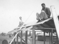 Construction of Macedo's Hut April 1942 Schofield.  [Courtesy of Mike Harada]