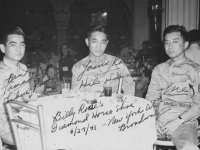 Ben Tamashiro (Lihue, Kauai), Yasuo Kawano (Hilo, Hawaii), Me.   Billy Rose's Diamond Horse Shoe   6/27/43 - New York City Broadway.   [Courtesy of Mike Harada]
