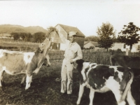 Richard, a member of the 100th Infantry Battalion in the cow pasture at Ralph Hendersin farm. When the soldiers came to visit the farm, they were interested in the animals and went all over the farm taking photographs. [Courtesy of Monroe County Local History Museum, Sparta, Wisconsin. Jarrod Roll, Director, Jan 8, 2019]