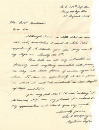 Alex McKenzie 08-27-1942 Letter