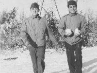Thanksgiving Day - L-R S. Kamishita, K. Higa  Camp McCoy, Wisc. Nov '42 [Courtesy of Kenneth Higa]