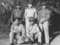 Company I at Barking Sands. Top:  Yoshito Ando, Norman Fujisue, unidentified officer, Bottom:  James (Chibana) Higa, unidentified  [Courtesy of Kenneth Higa]