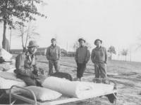 F Co. R. George Takata, Ken Higa, Seiso Kamishita, Yoshito Ando 1/10/43 Camp Shelby, Miss. [Courtesy of Kenneth Higa]