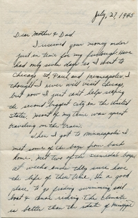 July 27, 1943 Letter Page 1