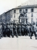"1943 Here comes ""C"" Company parade in Lecco, Italy  (Courtesy of Dorothy Inouye)"