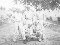 That's us former Co.H boys 298th inf. Hawaii. Tom Ibaraki- middle, standing.  [Courtesy of Dorothy Ibaraki]