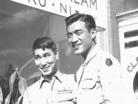 (Lost aim in war) Tamotsu Shimizu (A), Tom Ibaraki( R). [Courtesy of Dorothy Ibaraki]