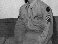 T/Sgt. Yukio Yokota of (Honolulu), a highly decorated 100th BN B. Co. veteran fought in Italy and France. He was awarded the DSC, Purple Heart, Legion of Merit and Bronze Star.  [U.S. Army Signal Corps]