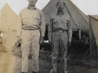 Shigeru Inouye and Tamotsu Miyata at Schofield Barracks prior to deployment, June 1, 1942. (Courtesy of Clinton K. Inouye)