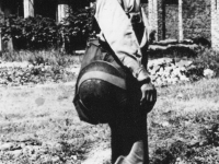 Yoroku Ito in khaki uniform with bag and helmet [Courtesy of:  Paula Akamine]