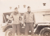 Mits Fukuda and Jack Johnson, Nov 1942 at Camp McCoy (Courtesy of David Fukuda)