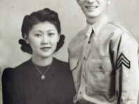 (November 14, 1941) Masanobu Eugene Kawakami with wife, Yoshiye Gladys Kawakami.  [Courtesy of Joanne Kai]