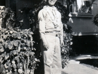 (November 1941) Eugene Kawakami in uniform, in front of his family's home.  [Courtesy of Joanne Kai]