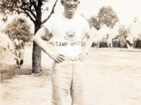 (July 01, 1942) Eugene Kawakami at Camp McCoy, Wisconsin.  [Courtesy of Joanne Kai]