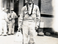 (July 03, 1942) Eugene Kawakami at the Camp McCoy train station, bound for Chicago.  [Courtesy of Joanne Kai]