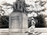 (July 05, 1942) Eugene Kawakami gazing up at Abraham Lincoln Statue in Grant Park, Chicago. He was a proud graduate of Lincoln School, then an English Standard school, in Honolulu, Hawaii.   [Courtesy of Joanne Kai]