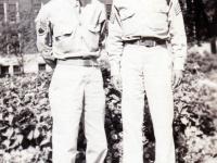 "(August 16, 1942) ""Eugene and Sgt. Walter Moriguchi, University of Minnesota in Minneapolis, Minnesota"". Eugene Kawakami is on the left.  [Courtesy of Joanne Kai]"