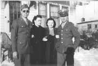 Kenneth Muroshige, Evelyn Falke, Violet Goldbeck, and Richard Hamada in LaCrosse, Wisconsin, winter 1942. [Courtesy of Mieko Muroshige]