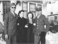 Kenneth Muroshige, Evelyn Falke, Violet Goldbeck, and Richard Hamada in LaCrosse, Wisconsin, winter 1942. [Courtesy of Mieko Muroshige]