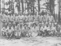 Lakeview Park, Miss. August 1943. Toshio Kikuta is second soldier behind the woman in the dress. [Courtesy of Paulette Dahlen]