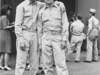 Gold Brick Kimura & Asuka - Camp Shelby - Company party, 1943. [Courtesy of Elaine Kishinami Tadaki]