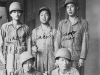 Standing, L to R: Nakasone, Sakao, Asagi, Sitting: L to R: Harada, Higa. [Courtesy of Elaine Kishinami Tadaki]