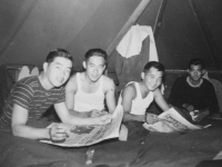 Tentmates, we all been together since the time I was in the army. From front-Dick Nakahara, Raymond Yokoyama, Kenneth Wasada, Sus Kunishige. Hope the other two was here too.  [Courtesy of Ruth Kunishige}
